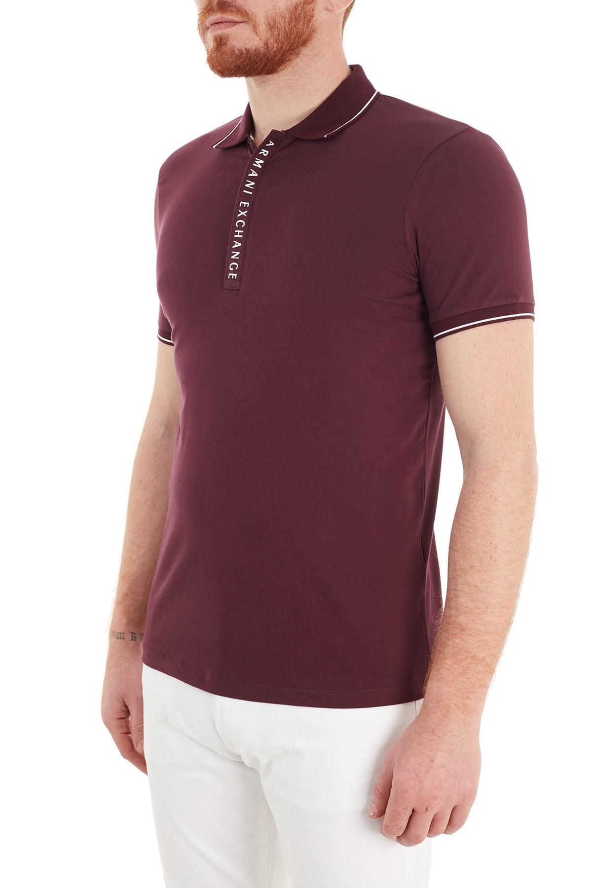 Armani Exchange Slim Fit Pamuklu T Shirt Erkek Polo S 8NZF71 ZJH2Z 04AA BORDO