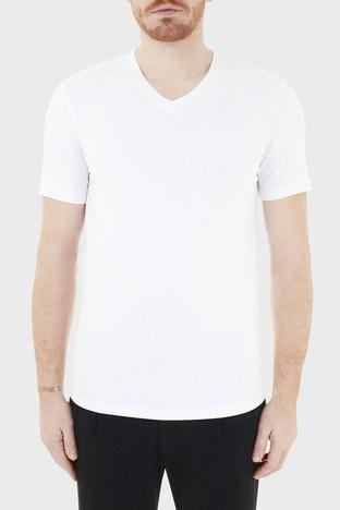 Armani Exchange - Armani Exchange Pamuklu V Yaka Erkek T Shirt 8NZT85 Z8M9Z 1100 BEYAZ