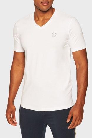 Armani Exchange - Armani Exchange Pamuklu V Yaka Regular Fit Erkek T Shirt S 8NZT85 Z8M9Z 2181 BEYAZ