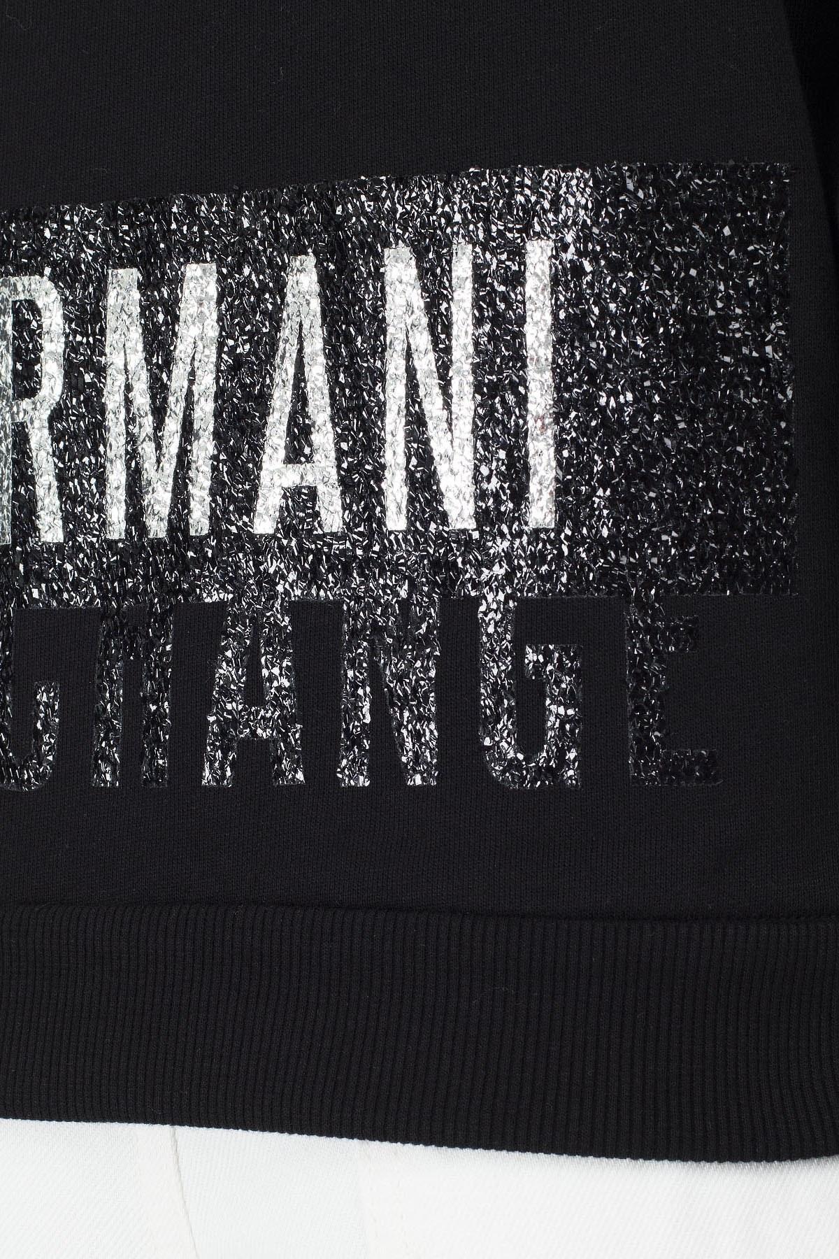 Armani Exchange Parlak Baskılı Kapüşonlu Regular Fit Kadın Sweat S 6GYM26 YJE5Z 1200 SİYAH