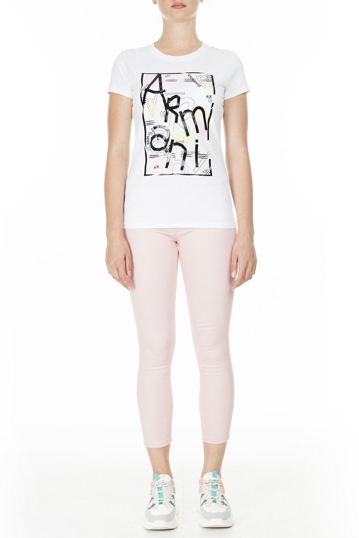 Armani Exchange Regular Fit Kadın T Shirt 3HYTAH YJ73Z 1000 BEYAZ