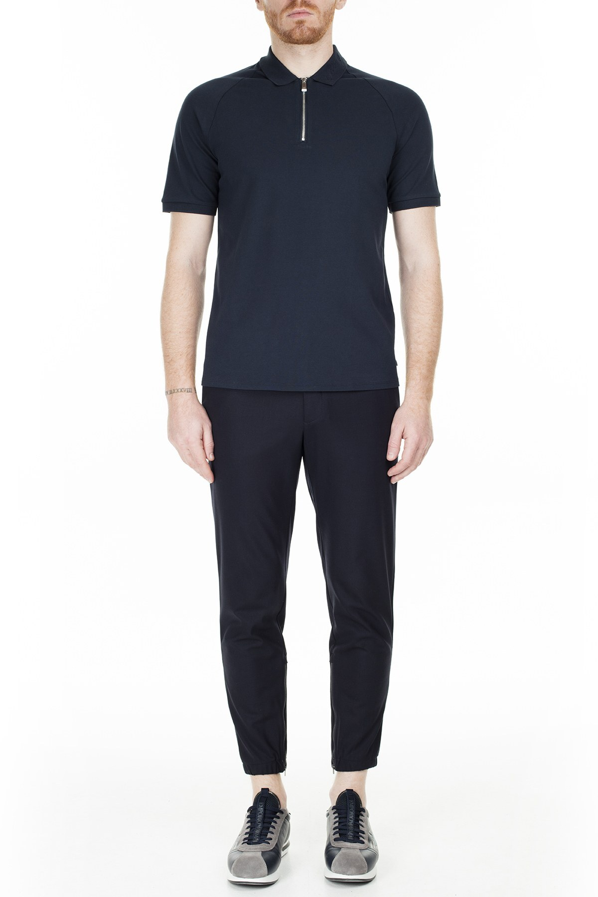 Armani Exchange Regular Fit T Shirt Erkek Polo 3HZFAD ZJ81Z 1510 LACİVERT