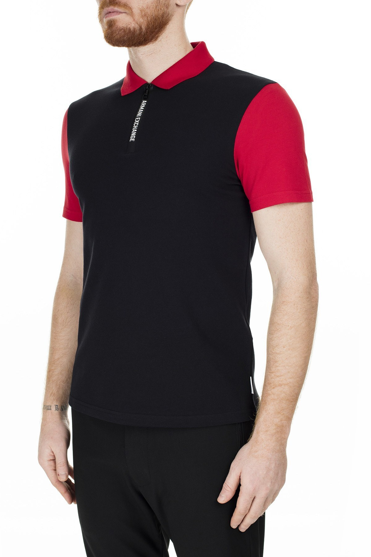 Armani Exchange Regular Fit T Shirt Erkek Polo 6GZF89 ZJU3Z 6207 SİYAH