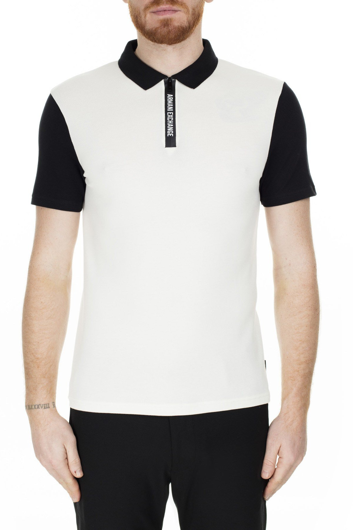 Armani Exchange Regular Fit T Shirt Erkek Polo S 6GZF89 ZJU3Z 2181 KREM