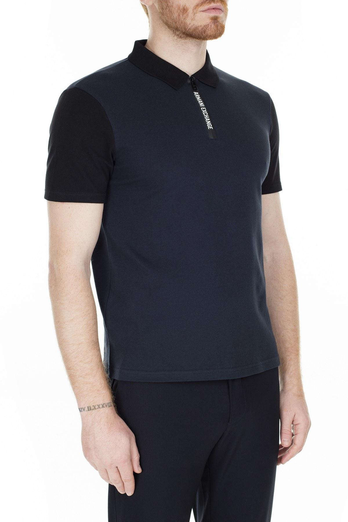 Armani Exchange Regular Fit T Shirt Erkek Polo S 6GZF89 ZJU3Z 4520 LACİVERT