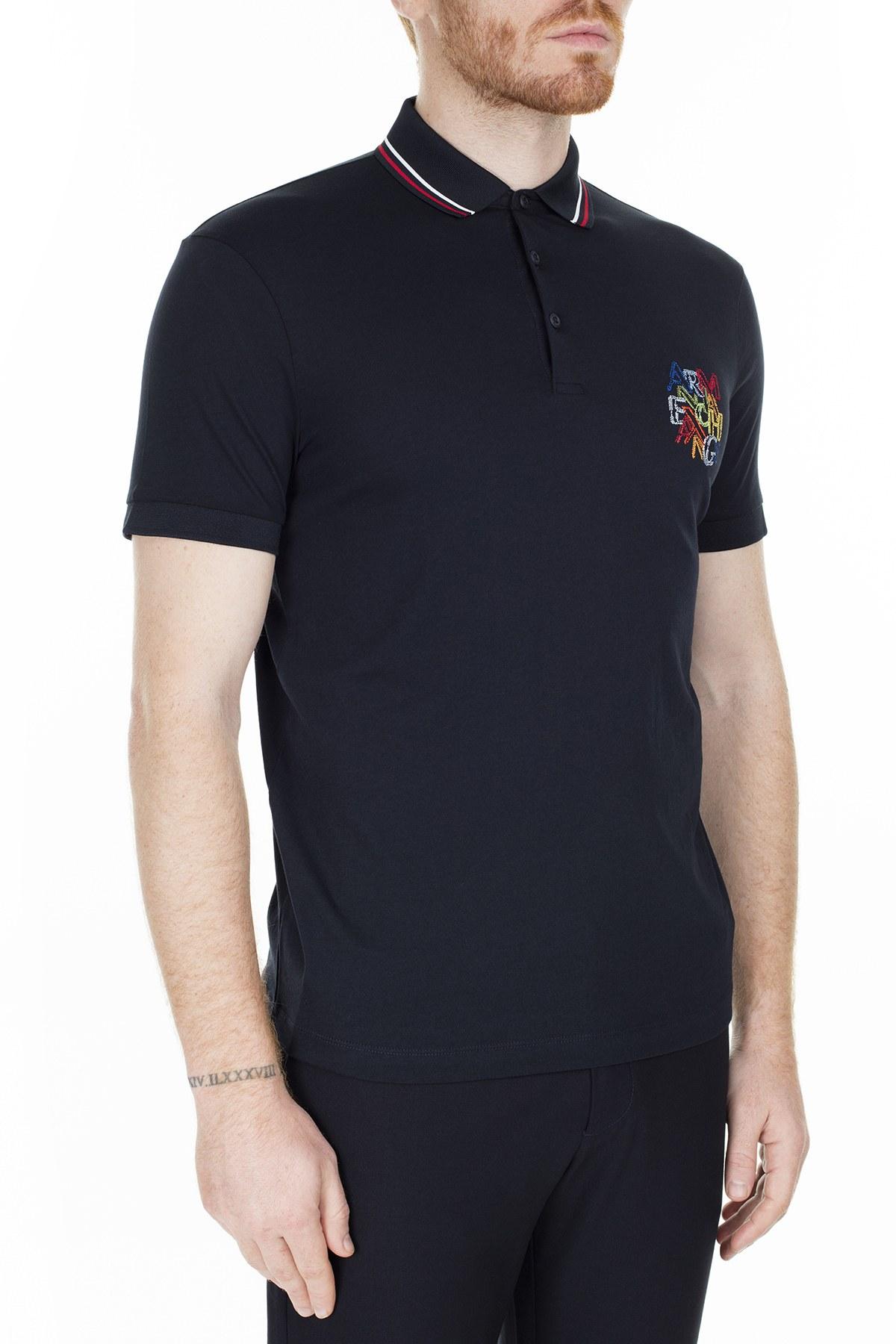 Armani Exchange Regular Fit T Shirt Erkek Polo S 6GZFCA ZJH4Z 1583 LACİVERT