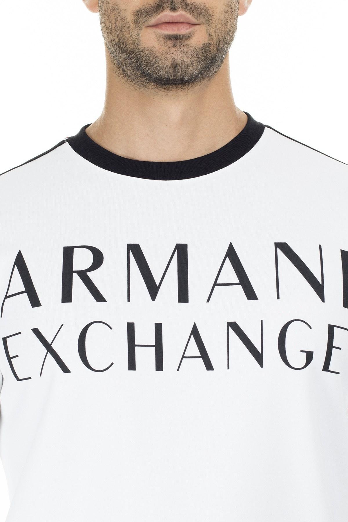 Armani Exchange Şeritli Sıfır Yaka Erkek Sweat 6GZM97 ZJ4DZ 1100 BEYAZ