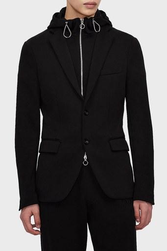 Armani Exchange Slim Fit % 100 Pamuk Kapüşonlu Erkek Ceket 3KZGLE ZJY6Z 1200 SİYAH