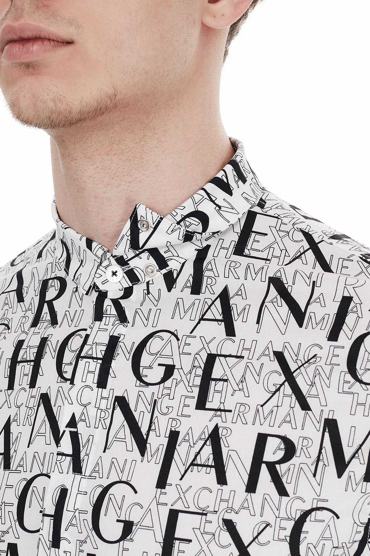 Armani Exchange Slim Fit Baskılı Pamuklu Uzun Kollu Erkek Gömlek 6HZC25 ZNEAZ 9127 BEYAZ