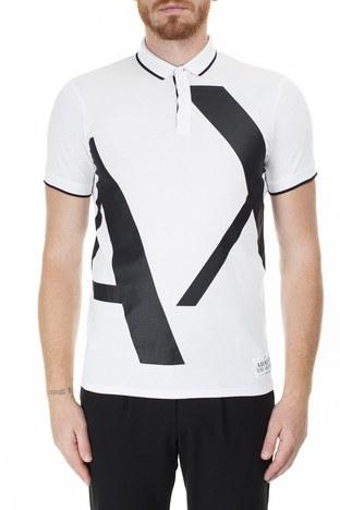 Armani Exchange - Armani Exchange Slim Fit Baskılı T Shirt Erkek Polo 3HZFFB ZJH4Z 7127 BEYAZ