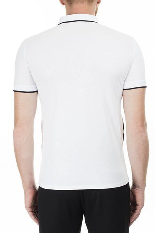 Armani Exchange - Armani Exchange Slim Fit Baskılı T Shirt Erkek Polo 3HZFFB ZJH4Z 7127 BEYAZ (1)