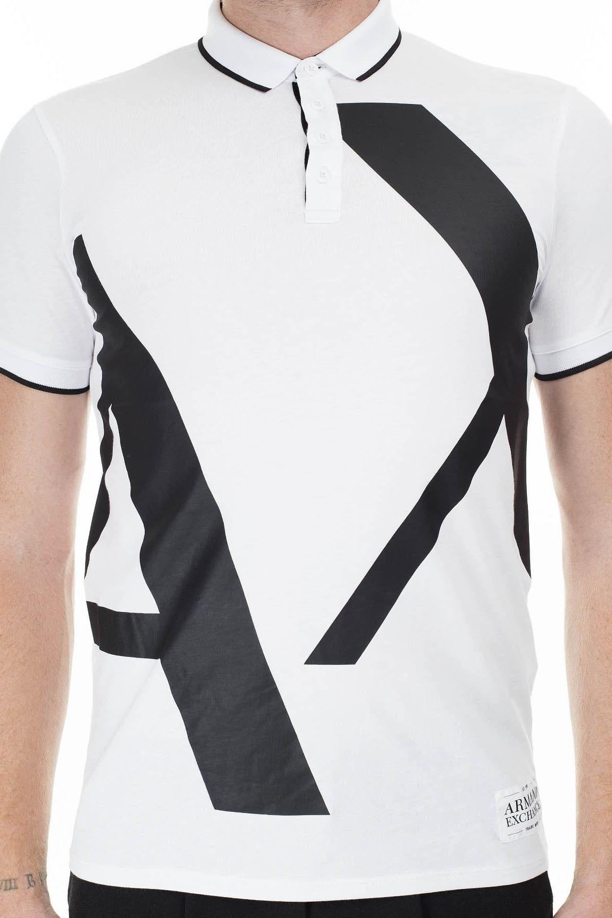 Armani Exchange Slim Fit Baskılı T Shirt Erkek Polo 3HZFFB ZJH4Z 7127 BEYAZ