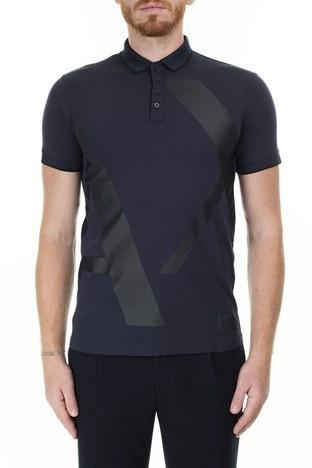 Armani Exchange - Armani Exchange Slim Fit Baskılı T Shirt Erkek Polo 3HZFFB ZJH4Z 8579 LACİVERT