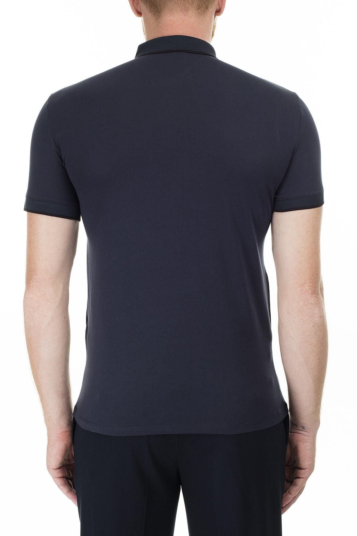 Armani Exchange Slim Fit Baskılı T Shirt Erkek Polo 3HZFFB ZJH4Z 8579 LACİVERT