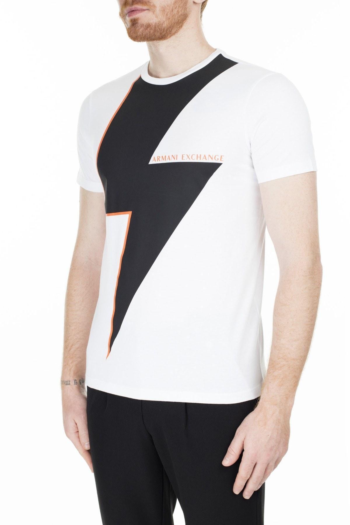 Armani Exchange Slim Fit Erkek T Shirt 3HZTFY ZJBVZ 7186 BEYAZ