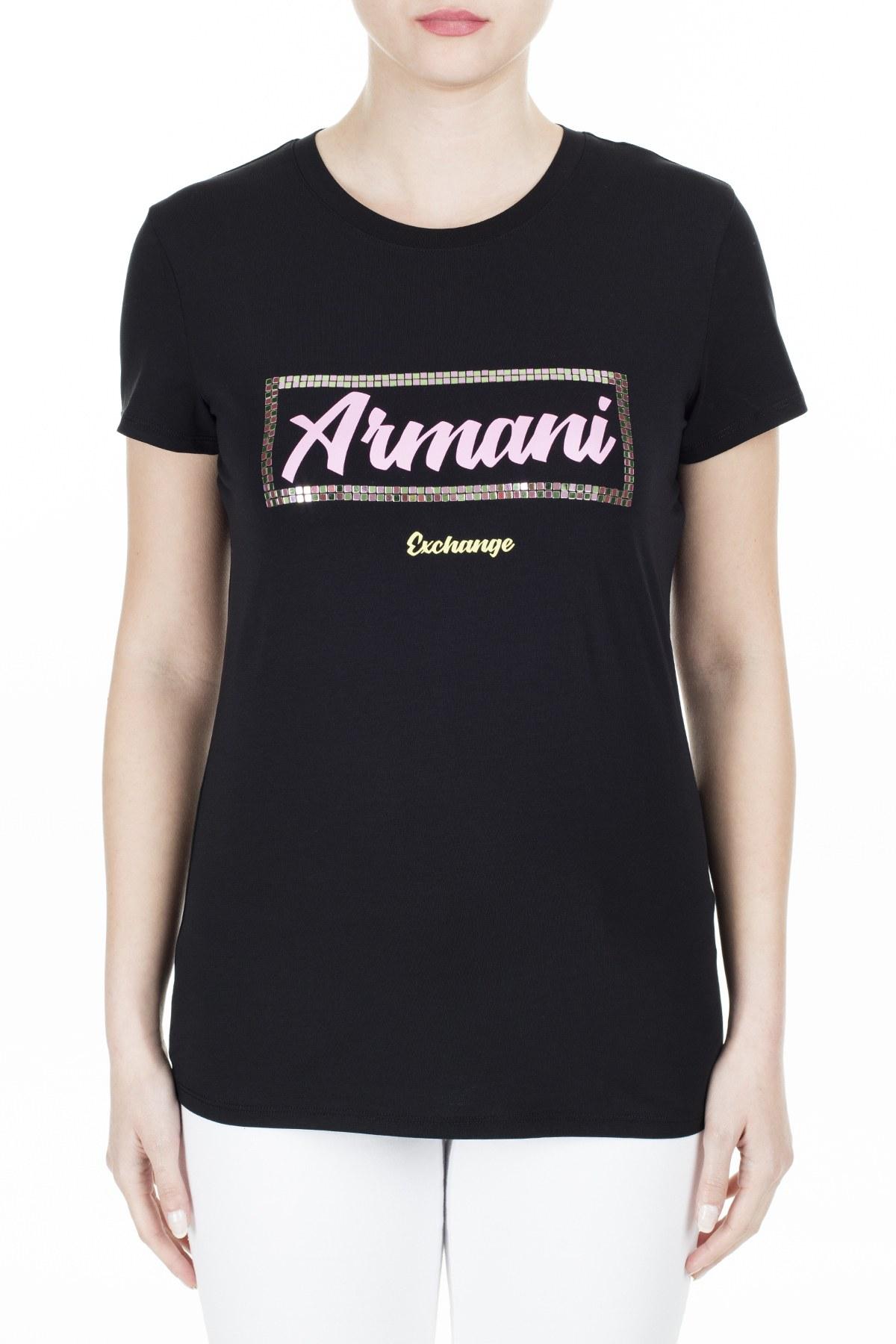 Armani Exchange Slim Fit Kadın T Shirt 3HYTAF YJC7Z 1200 SİYAH