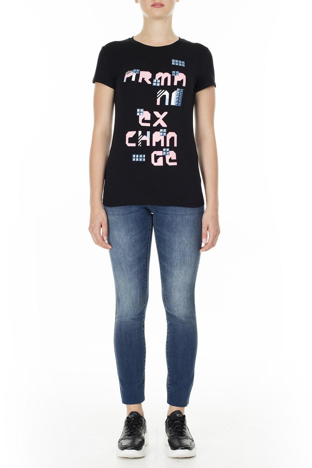 Armani Exchange Slim Fit Bayan T Shirt 3HYTAV YJC7Z 1200 SİYAH
