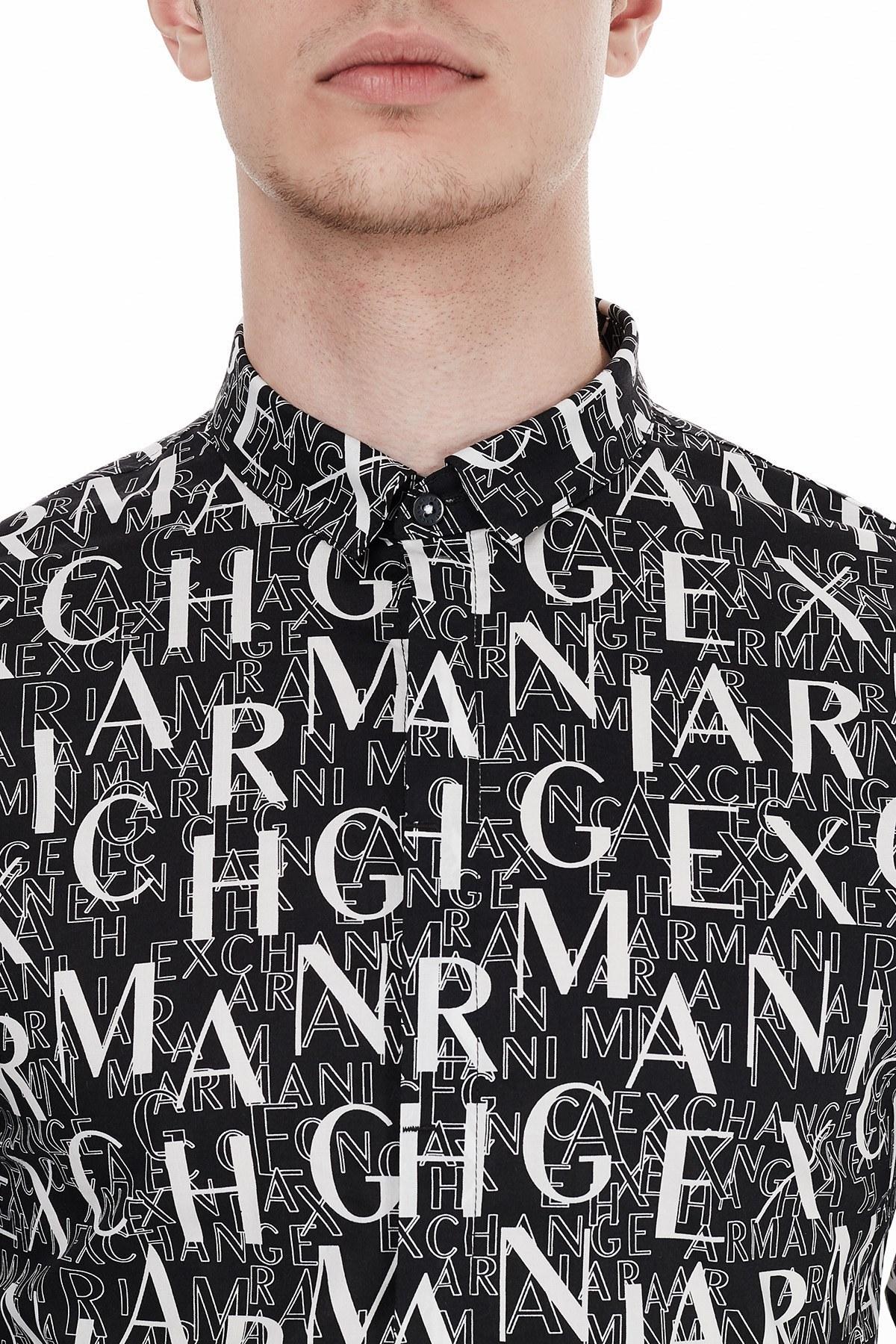 Armani Exchange Slim Fit Pamuklu Baskılı Uzun Kollu Erkek Gömlek 6HZC25 ZNEAZ 7299 SİYAH