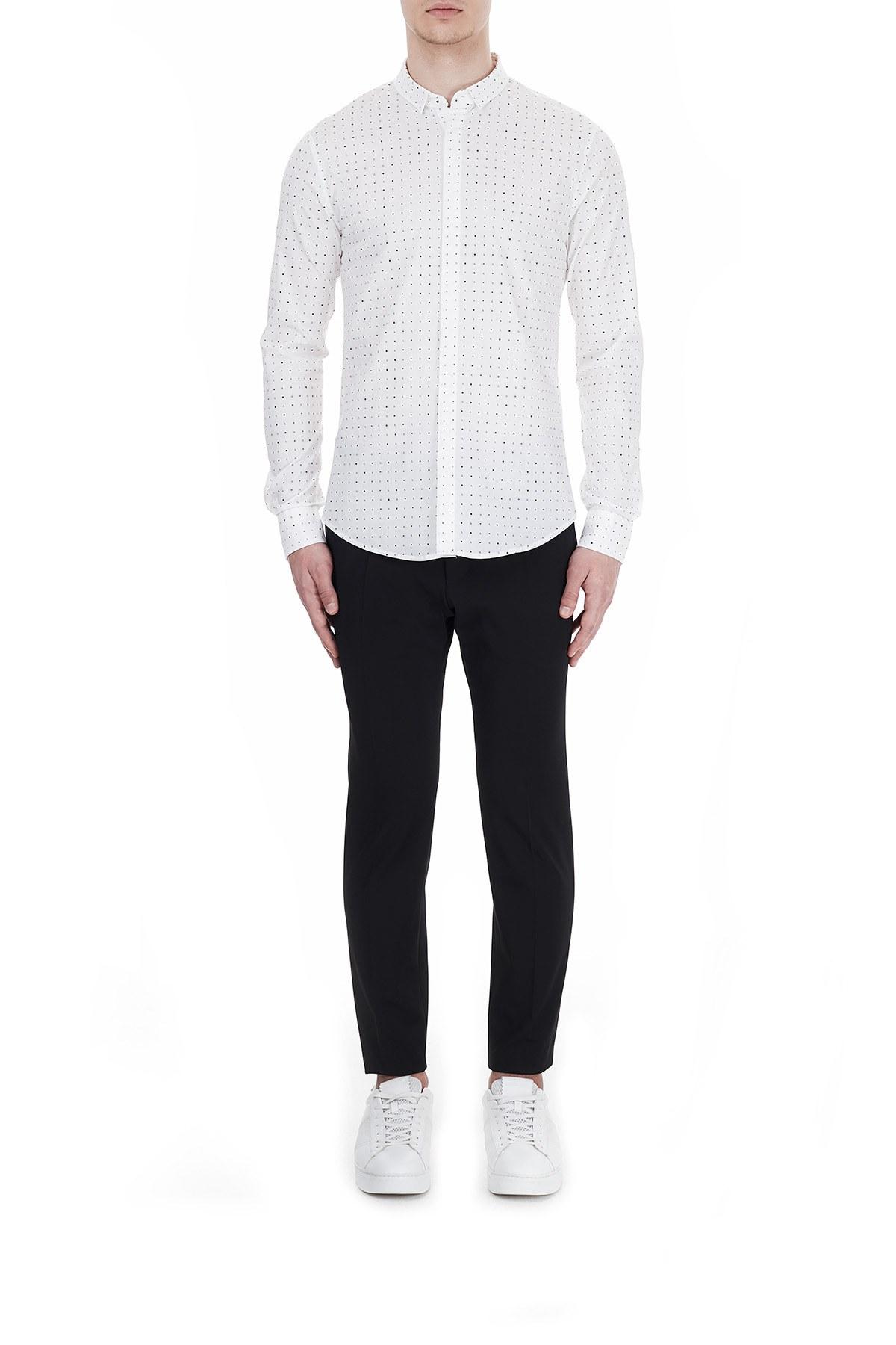 Armani Exchange Slim Fit Pamuklu Baskılı Uzun Kollu Erkek Gömlek 6HZC25 ZNEAZ 8171 BEYAZ