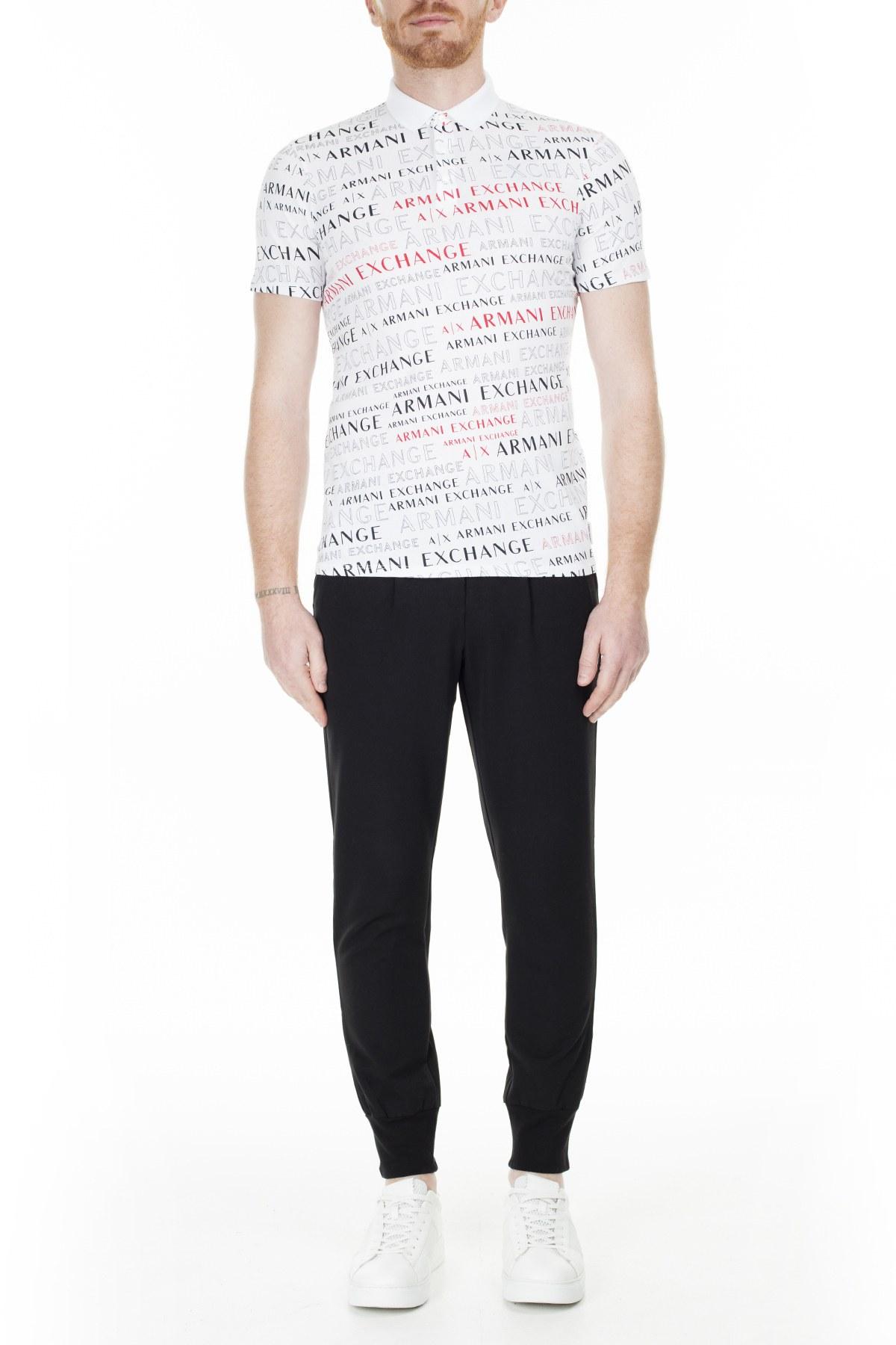 Armani Exchange Slim Fit T Shirt Erkek Polo 3HZF93 ZJH4Z 7152 BEYAZ