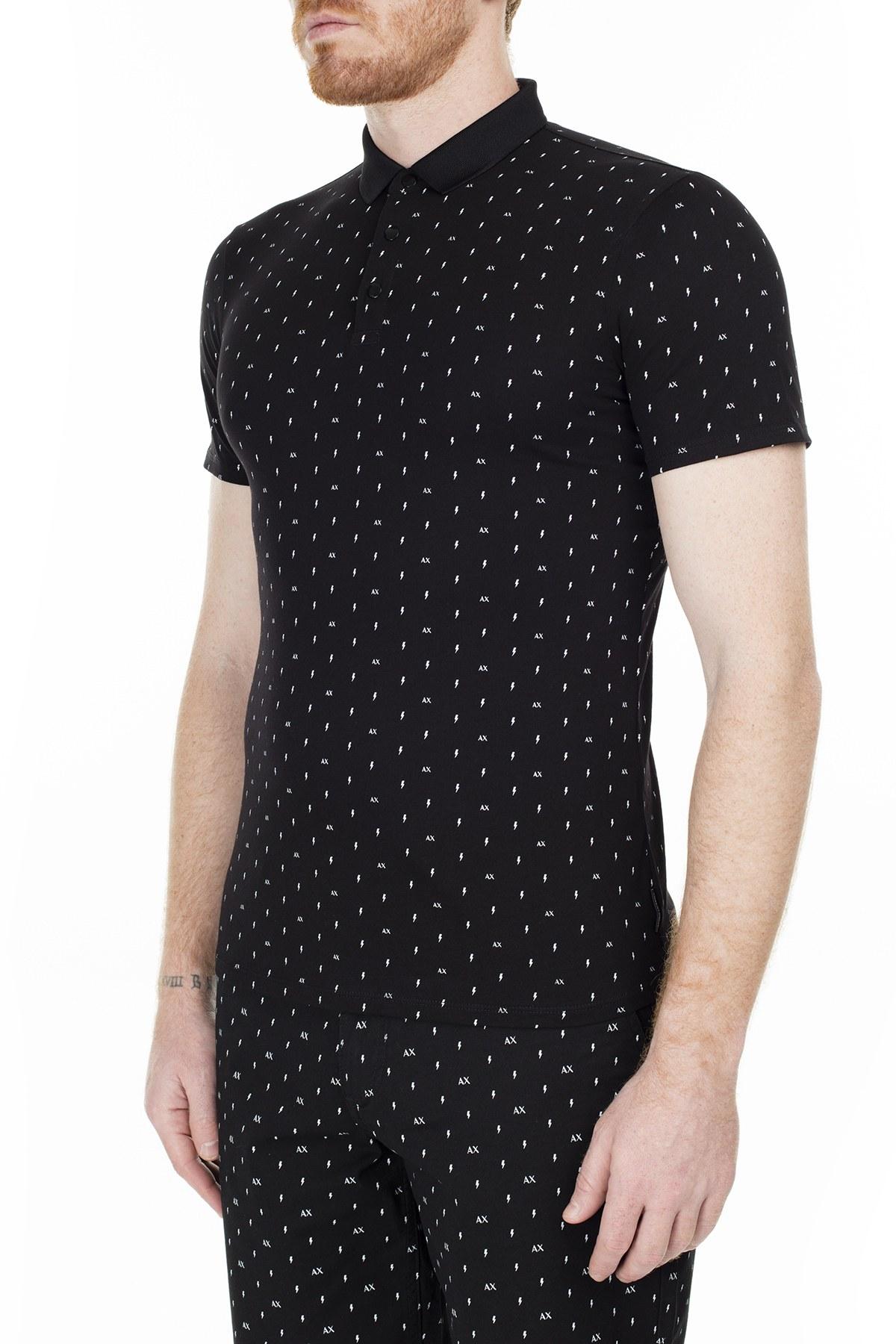 Armani Exchange Slim Fit T Shirt Erkek Polo 3HZF93 ZJH4Z 7216 SİYAH