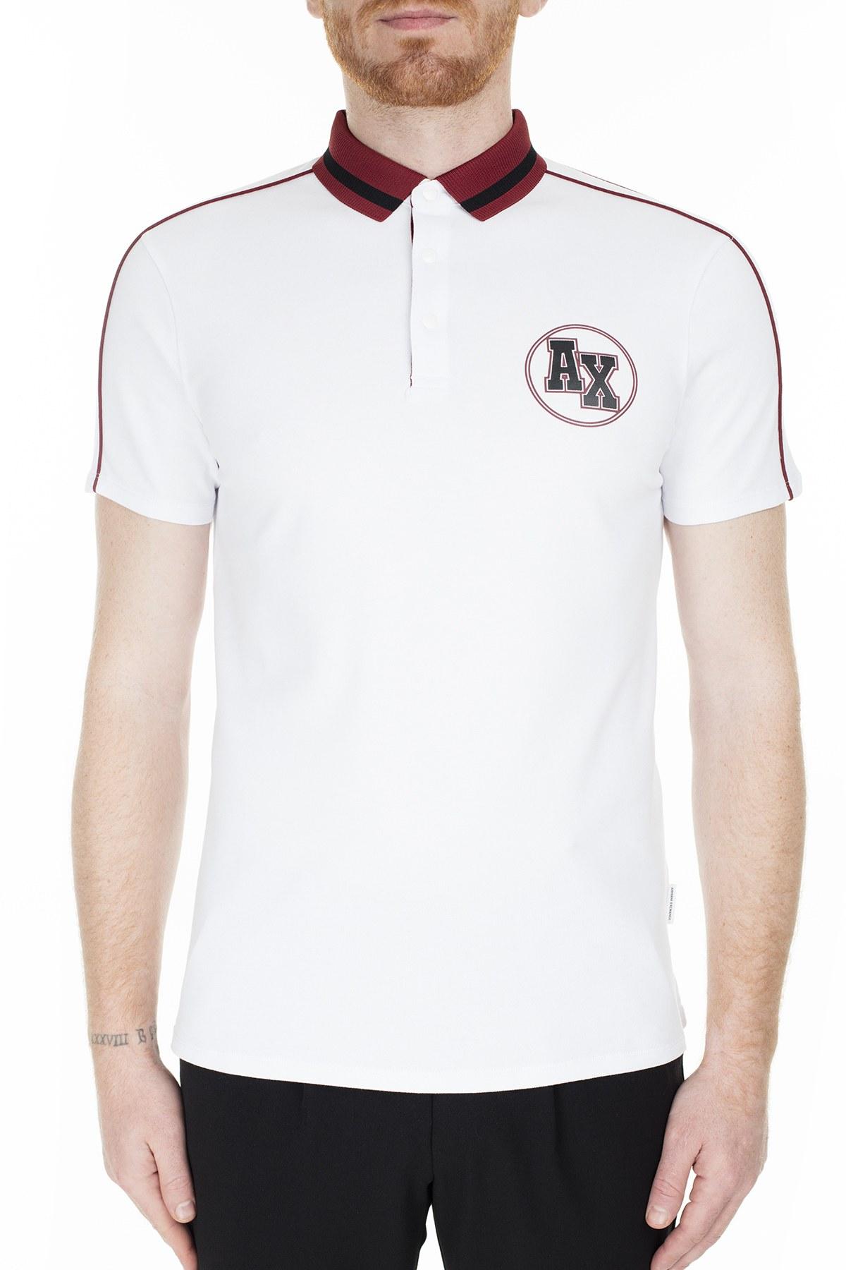 Armani Exchange Slim Fit T Shirt Erkek Polo 3HZFFC ZJ1VZ 1100 BEYAZ