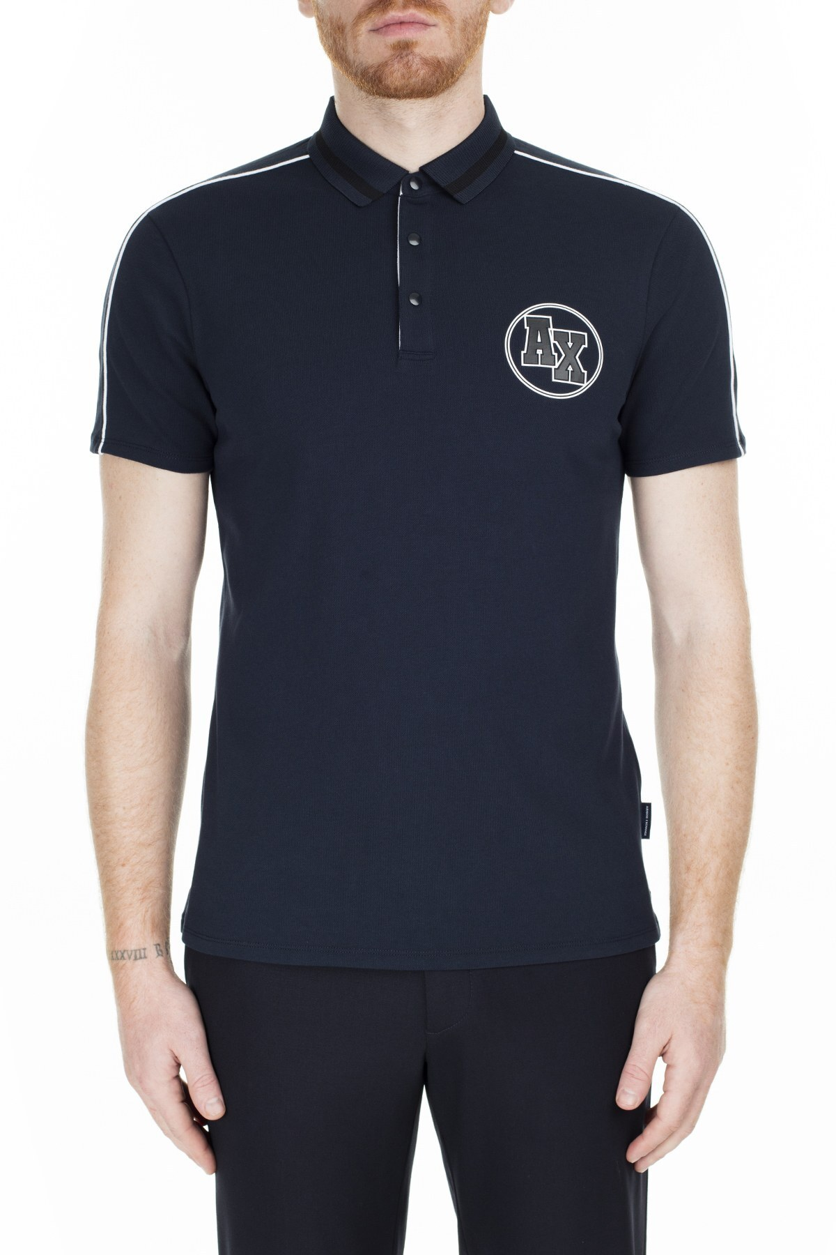 Armani Exchange Slim Fit T Shirt Erkek Polo 3HZFFC ZJ1VZ 1510 LACİVERT