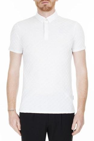 Armani Exchange - Armani Exchange Slim Fit T Shirt Erkek Polo 3HZFFD ZJ7EZ 1100 BEYAZ