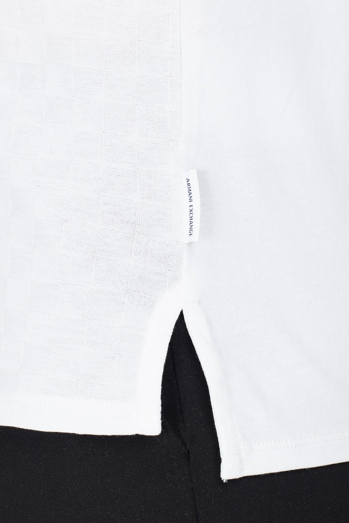 Armani Exchange Slim Fit T Shirt Erkek Polo 3HZFFD ZJ7EZ 1100 BEYAZ