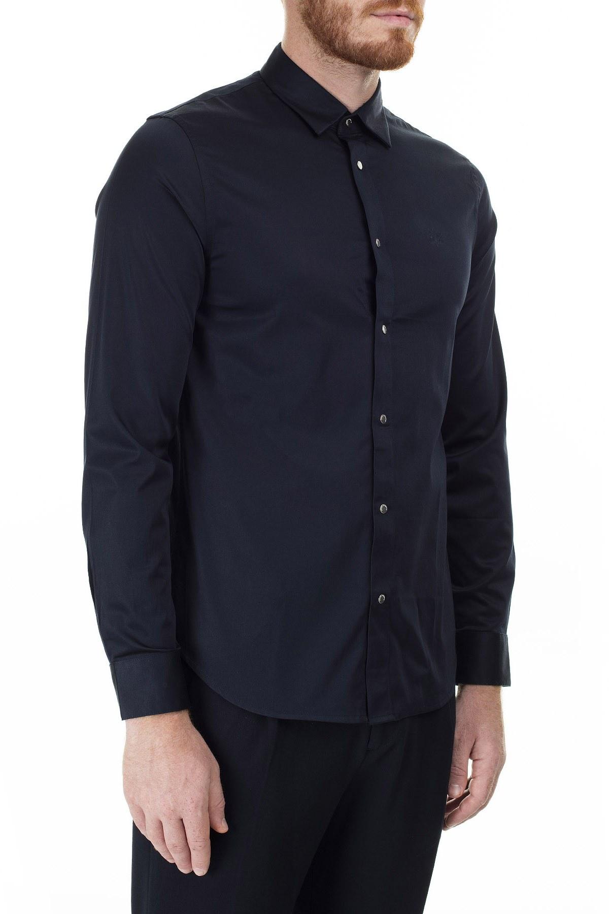 Armani Exchange Slim Fit Uzun Kollu Erkek Gömlek 8NZC13 ZN10Z 1510 LACİVERT