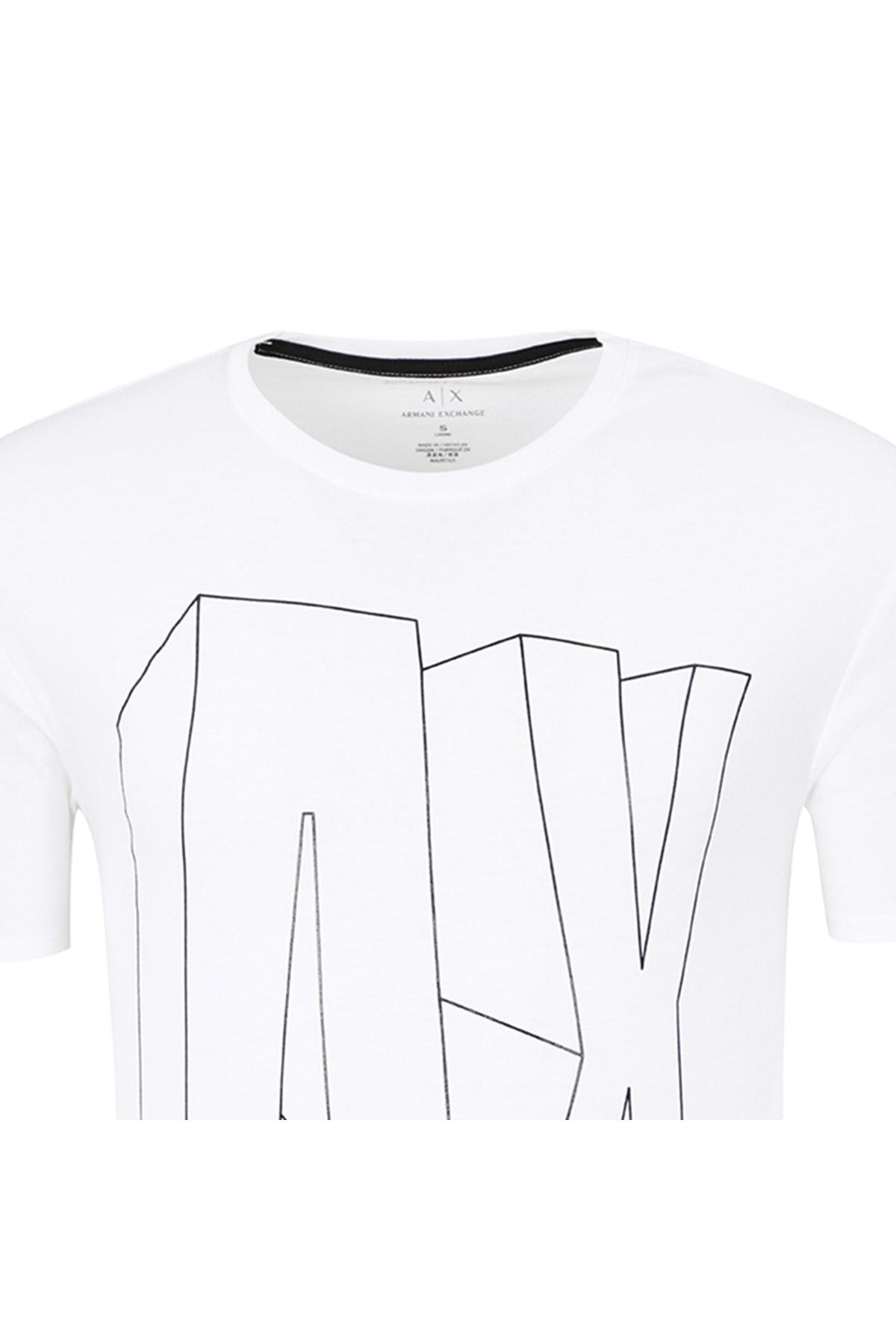 ARMANI EXCHANGE T SHIRT Erkek T Shirt 6ZZTAG ZJS3Z 1100 BEYAZ