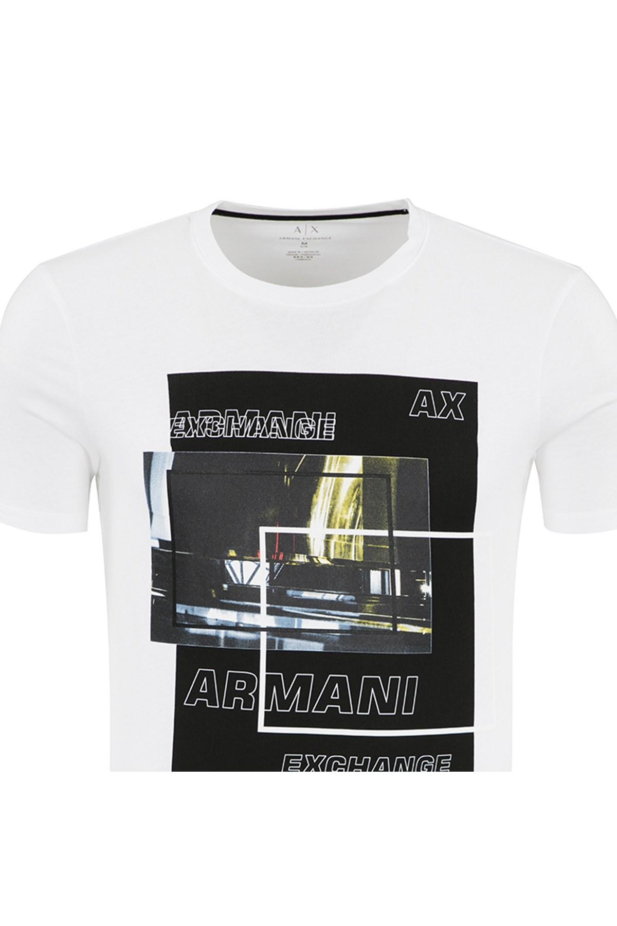 ARMANI EXCHANGE T SHIRT Erkek T Shirt 6ZZTBF ZJBUZ 1100 BEYAZ