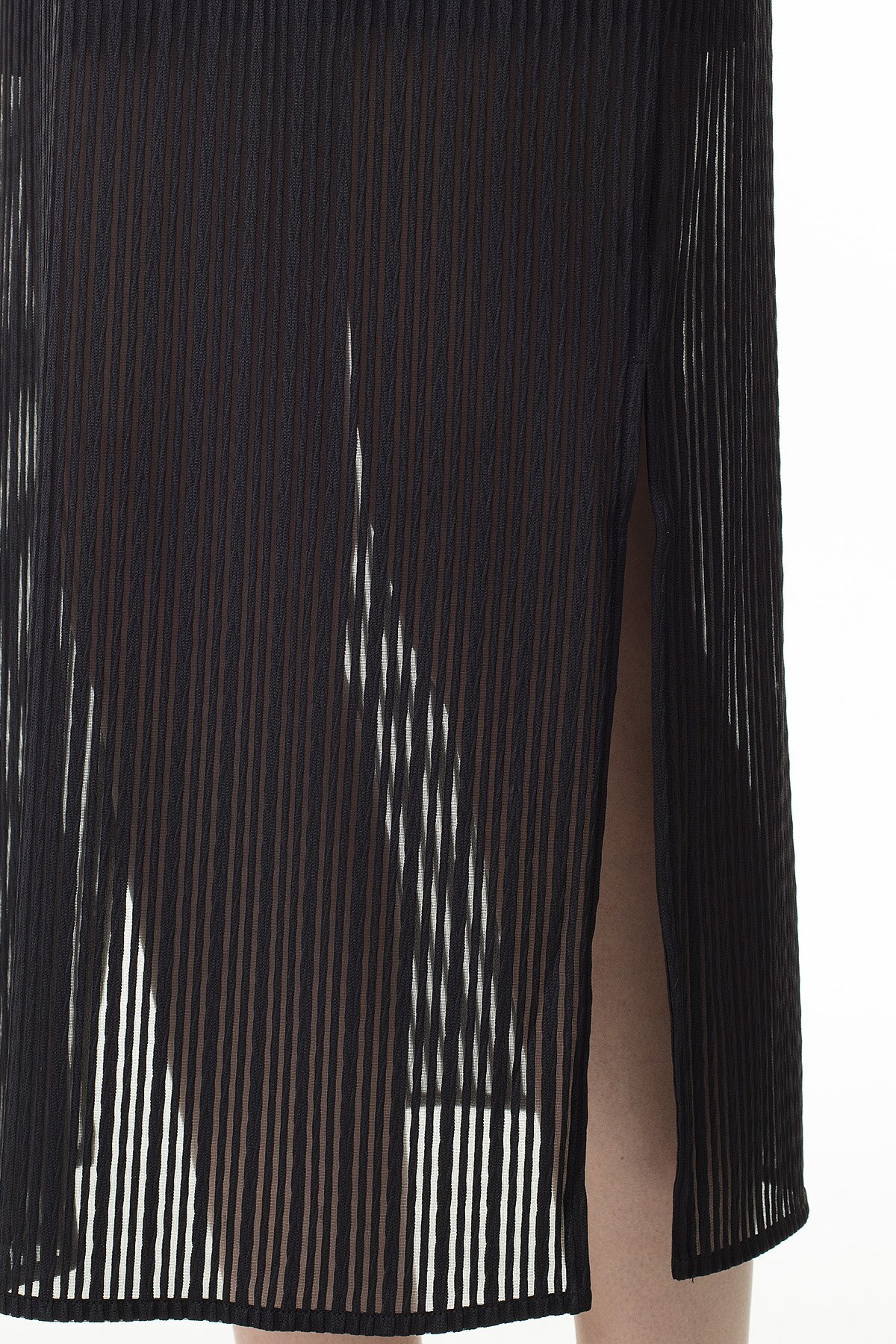 Armani Exchange Yarı Saydam Panelli Bodycon Uzun Bayan Elbise 3HYA95 YJ88Z 1200 SİYAH