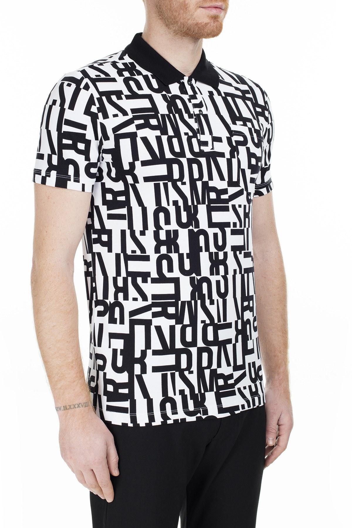 Bikkembergs T Shirt Erkek Polo C801000E20410032 SİYAH-BEYAZ