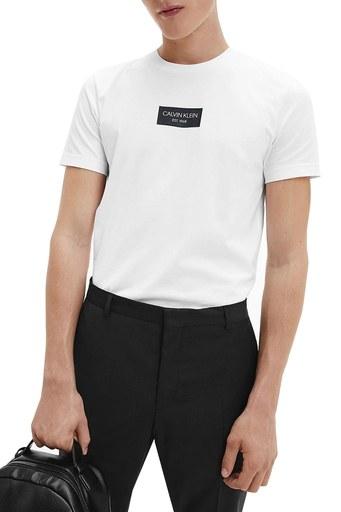 Calvin Klein % 100 Pamuklu Bisiklet Yaka Erkek T Shirt K10K106484 YAF BEYAZ