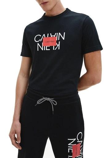 Calvin Klein % 100 Pamuklu Bisiklet Yaka Erkek T Shirt K10K106489 BEH SİYAH