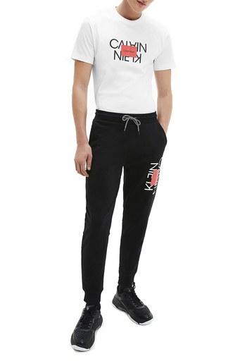 Calvin Klein % 100 Pamuklu Bisiklet Yaka Erkek T Shirt K10K106489 YAF BEYAZ