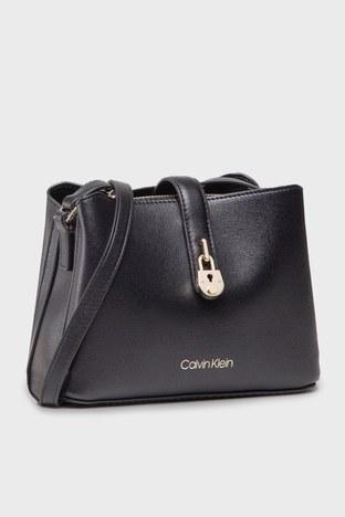 Calvin Klein - Calvin Klein Ayarlanabilir Askılı Deri Bayan Çanta K60K607532 BAX SİYAH (1)