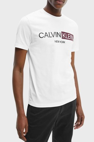 Calvin Klein - Calvin Klein Erkek T Shirt K10K107256 YAF BEYAZ