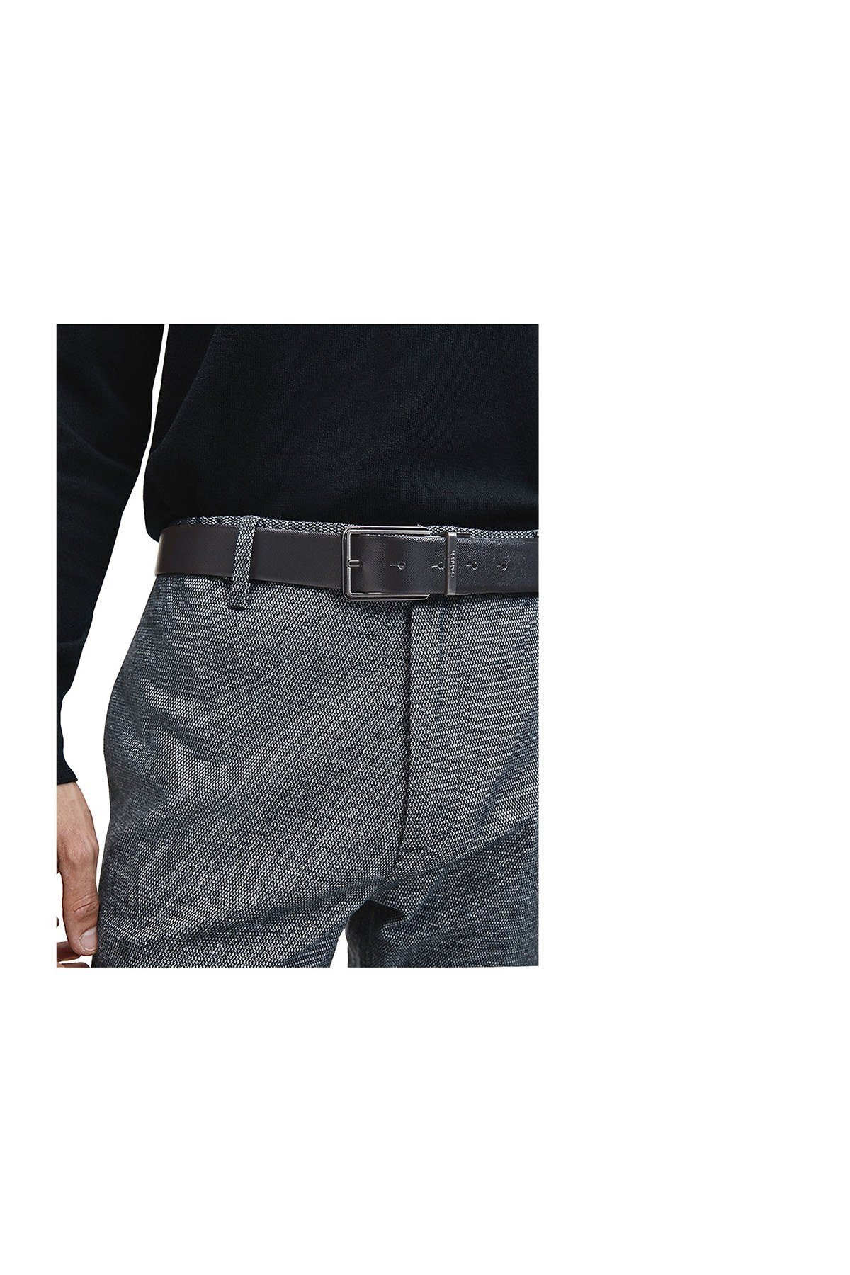Calvin Klein İki Tokalı Deri Erkek Kemer K50K506117 BAX SİYAH