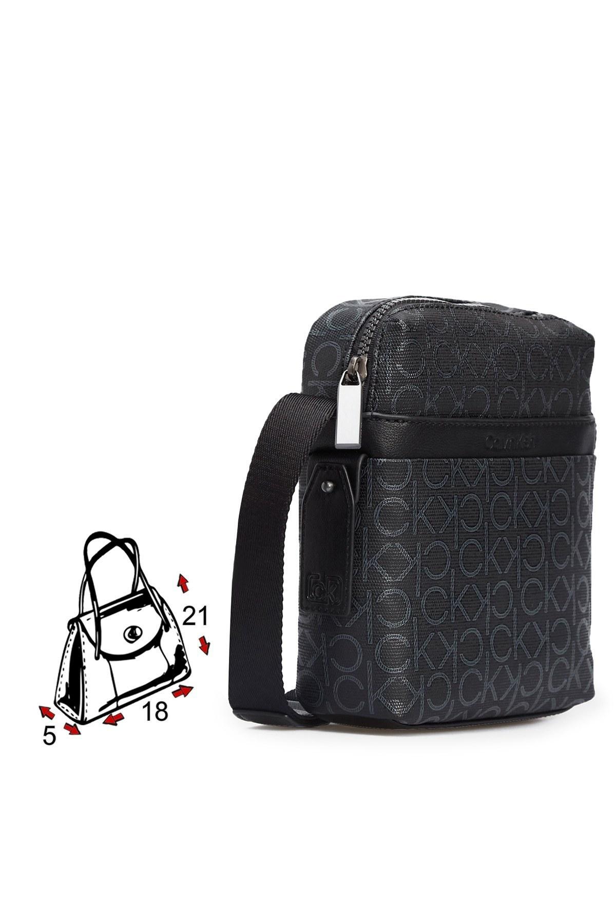 Calvin Klein Logo Baskılı Ayarlanabilir Askılı Erkek Çanta K50K505922 0GN SİYAH