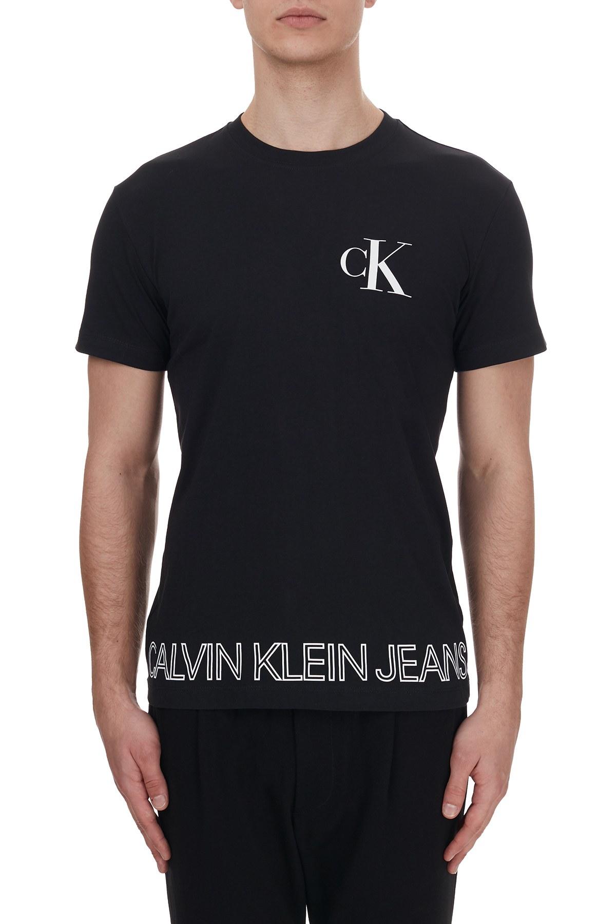Calvin Klein Logo Baskılı Bisiklet Yaka % 100 Pamuk Erkek T Shirt J30J316457 BEH SİYAH