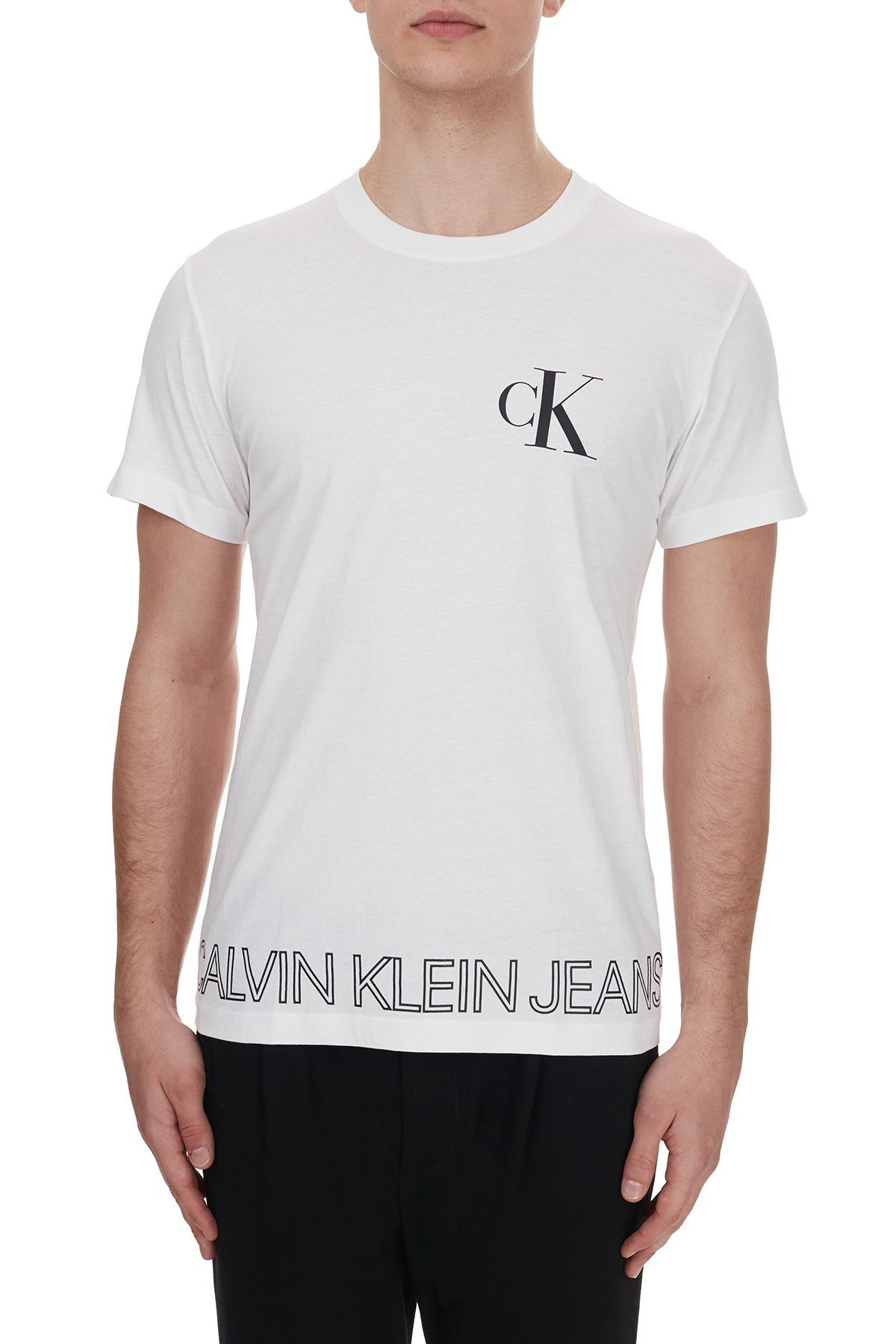 Calvin Klein Logo Baskılı Bisiklet Yaka % 100 Pamuk Erkek T Shirt J30J316457 YAF BEYAZ