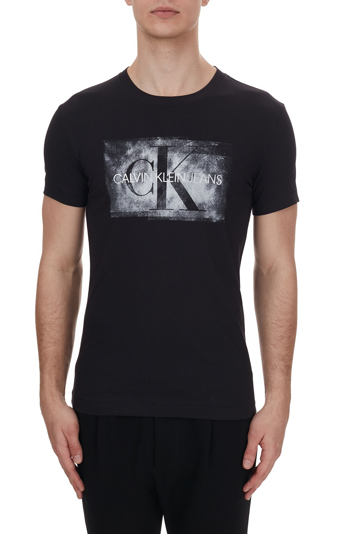 Calvin Klein Logo Baskılı Bisiklet Yaka % 100 Pamuk Erkek T Shirt J30J316733 BEH SİYAH
