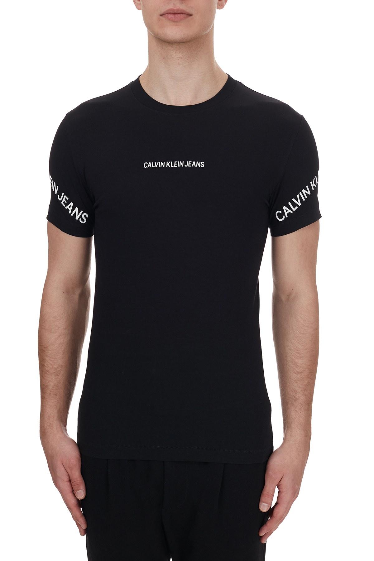 Calvin Klein Logo Baskılı Bisiklet Yaka Pamuklu Erkek T Shirt J30J316465 BEH SİYAH