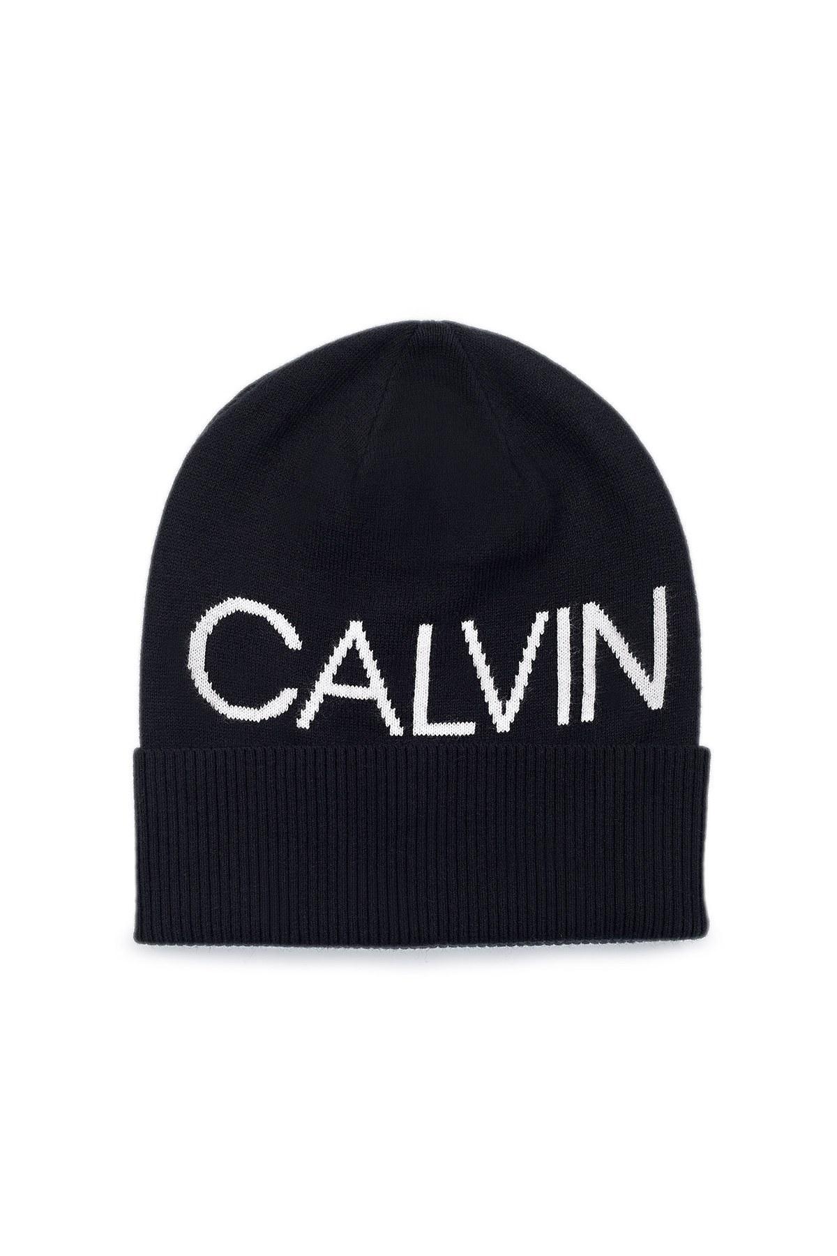 Calvin Klein Logo Baskılı Pamuklu Erkek Bere K50K506226 BDS SİYAH