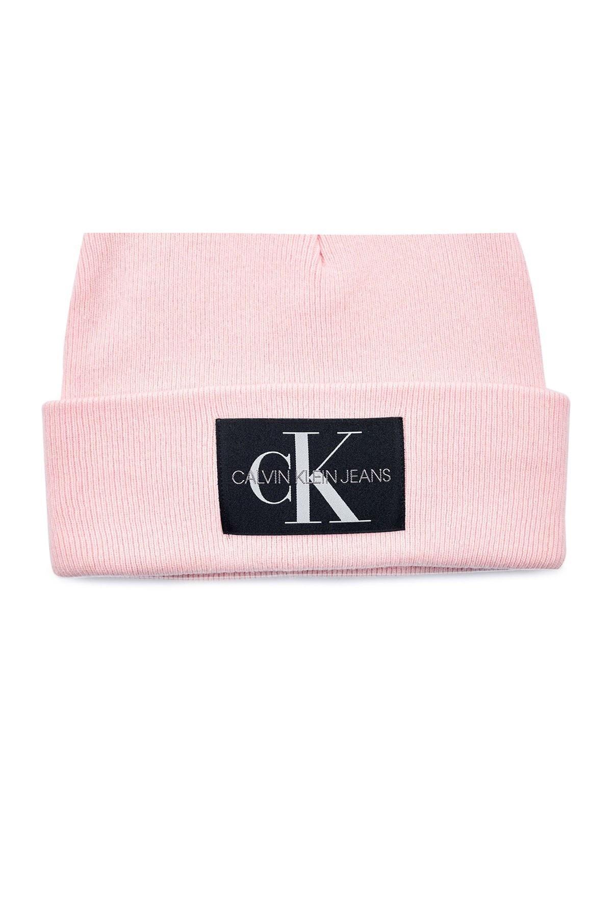Calvin Klein Logo Baskılı Yünlü Kadın Bere K60K607384 TE5 PEMBE