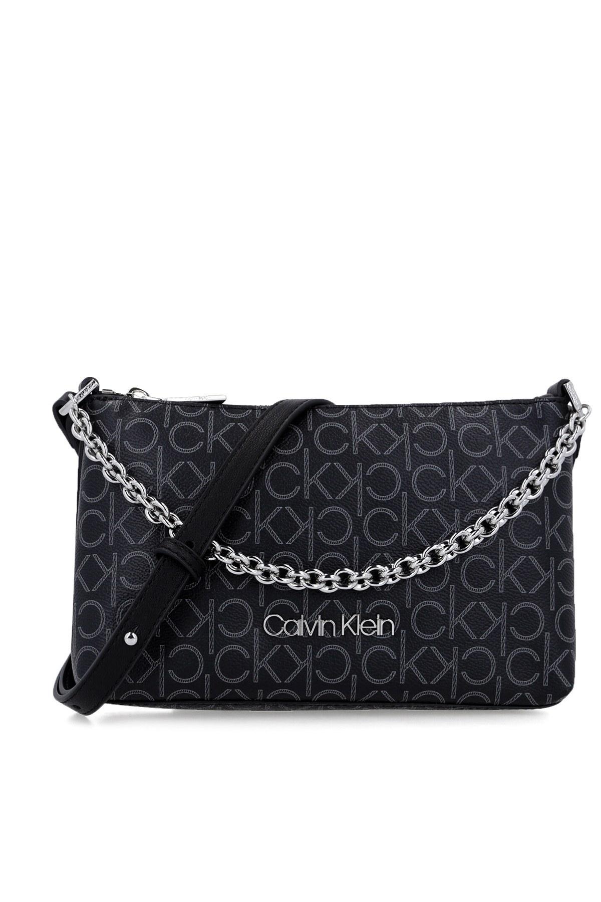 Calvin Klein Logo Baskılı Zincir Detaylı Kadın Çanta K60K607134 0GX SİYAH