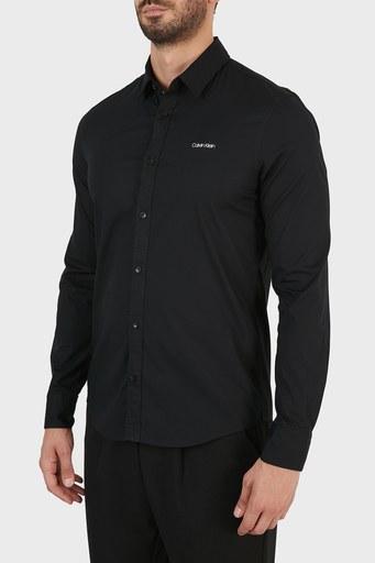 Calvin Klein Logolu Pamuklu Slim Fit Erkek Gömlek K10K107783 BEH SİYAH