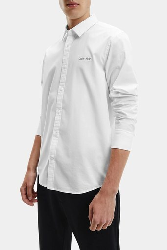 Calvin Klein Logolu Pamuklu Slim Fit Erkek Gömlek K10K107783 YAF BEYAZ